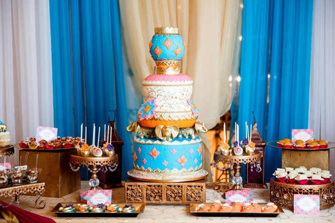 Bollywood Bridal Shower Cake Table
