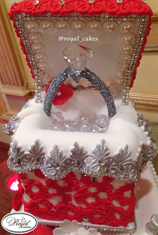 Harsanik Engagement Ring Box Cake By Royal Cakes