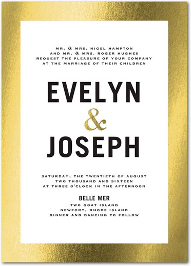 invitation trend gold foil